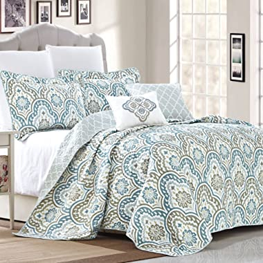 Serenta Tivoli Ikat Design 5 Piece Teal Aqua Printed Prewashed Quilted Coverlet Bed cover Summer Quilt Blanket with Cotton Polyester Filled Embroidery Pillow Set, King