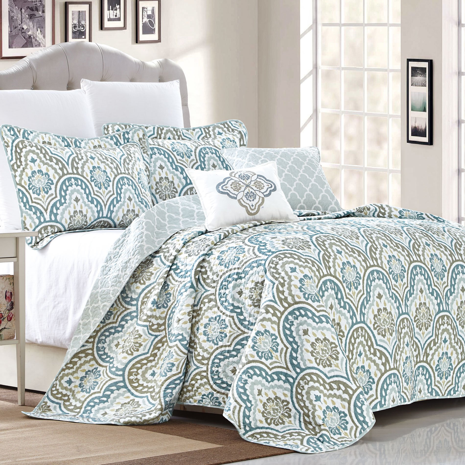 Home Soft Things Serenta Tivoli Ikat Design 5 Piece Teal Aqua Printed Prewashed Quilted Coverlet Bedspread Bed cover Summer Quilt Blanket with Cotton Polyester Filled Embroidery Pillow Set, Queen