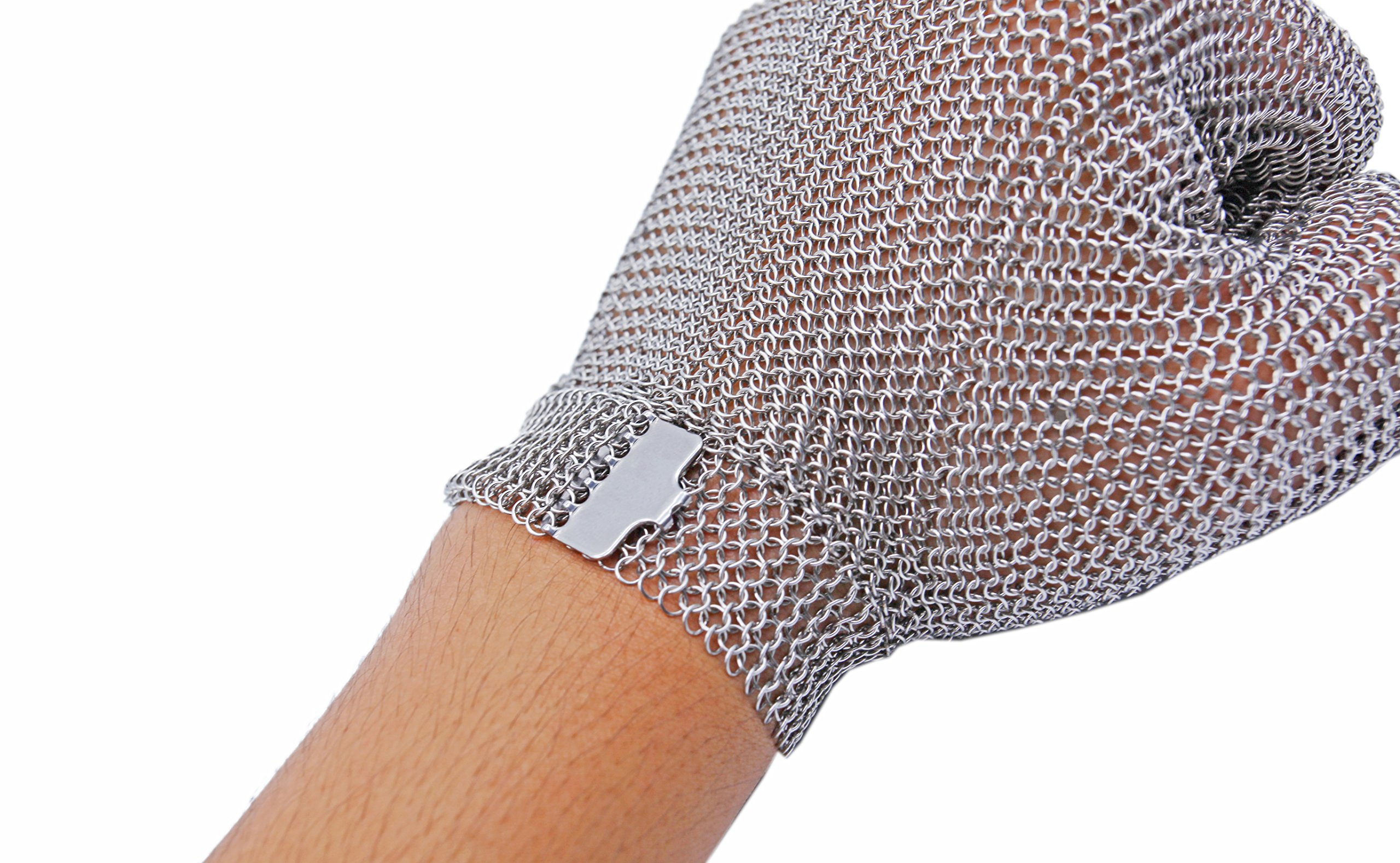 All Stainless Steel, No Fabric - Chainmail Mesh Butcher Glove - Sizes XXS to XL Available - ISO, FDA Compliant by 44Industry (Image #4)