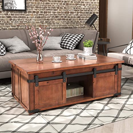 Amazon Com Henf Coffee Table With Sliding Barn Doors Rustic Industrial Sofa Side Coffee Table With Storage Shelf And Cabinets For Living Room Cocktail Center End Table Home Furniture Brown Kitchen Dining