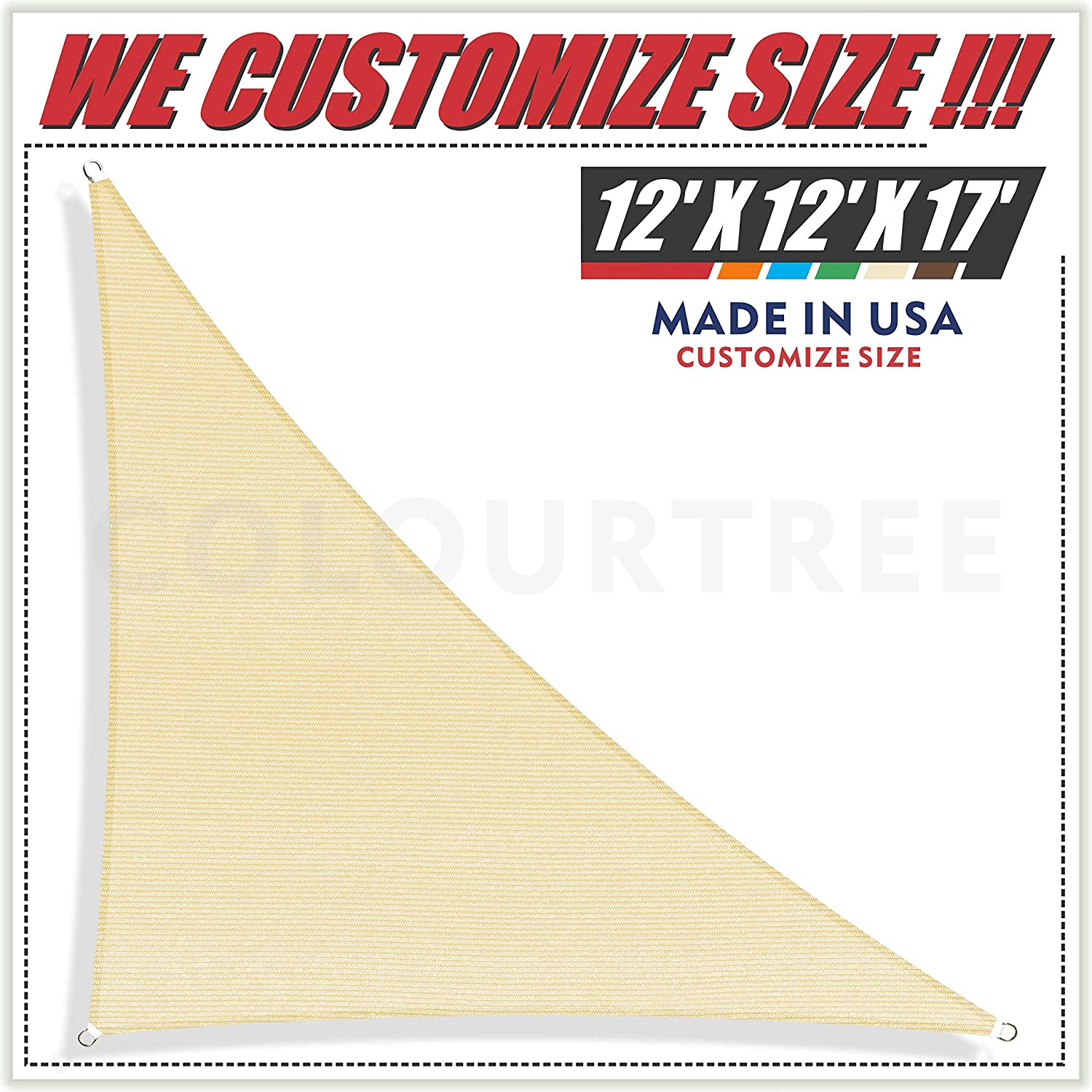 ColourTree 12 x 12 x 17 Beige Sun Shade Sail Right Triangle Canopy Awning Shelter Fabric Screen – UV Block UV Resistant Heavy Duty Commercial Grade – Outdoor Patio Carport – We Make Custom Size