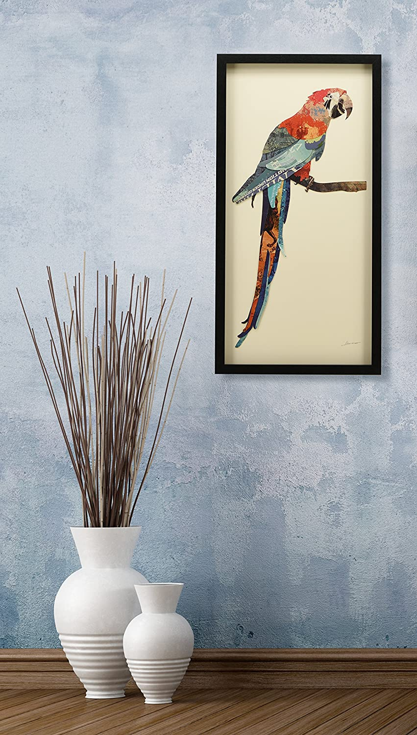 Empire Art Direct American Eagle Dimensional Art Collage Hand Signed by Alex Zeng Framed Graphic Wall Art