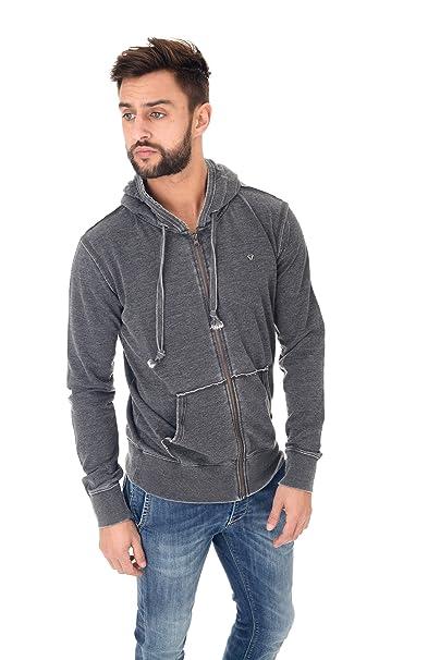 d8a9d2e288 Fifty Four Felpa Zip Uomo Carbone: Amazon.it: Abbigliamento