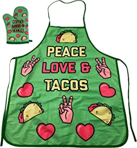 Crazy Dog T-Shirts Peace Love Tacos Funny Cinco De Mayo Graphic Novelty Kitchen Accessories (Oven Mitt + Apron)