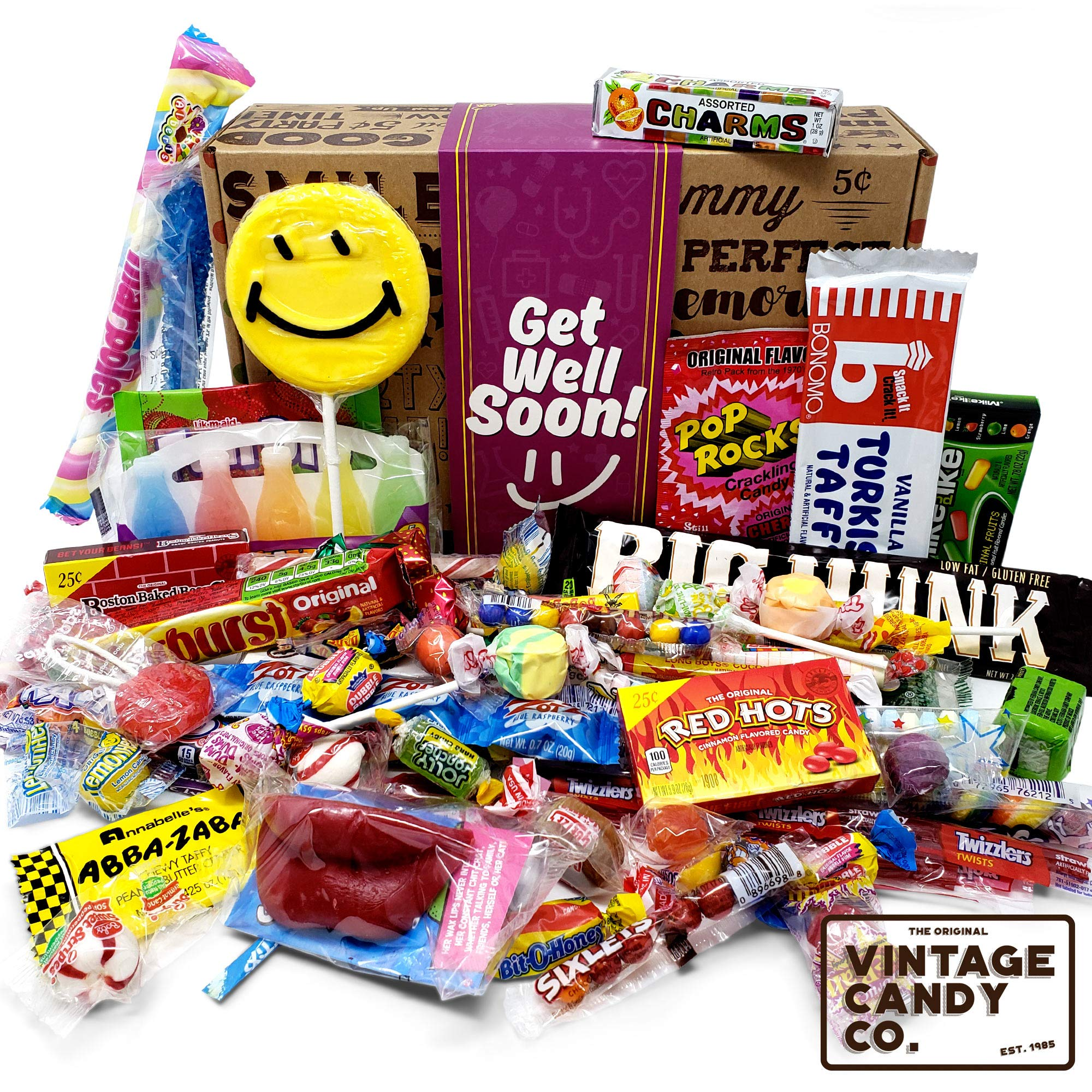 GET WELL SOON FEEL BETTER CARE PACKAGE- Nostalgic Decade Candies GIFT BOX - Fun Gag Gift Basket For Boy or Girl - PERFECT For Adults, College Students, Friend, Teens, Man or Woman by Vintage Candy Co.