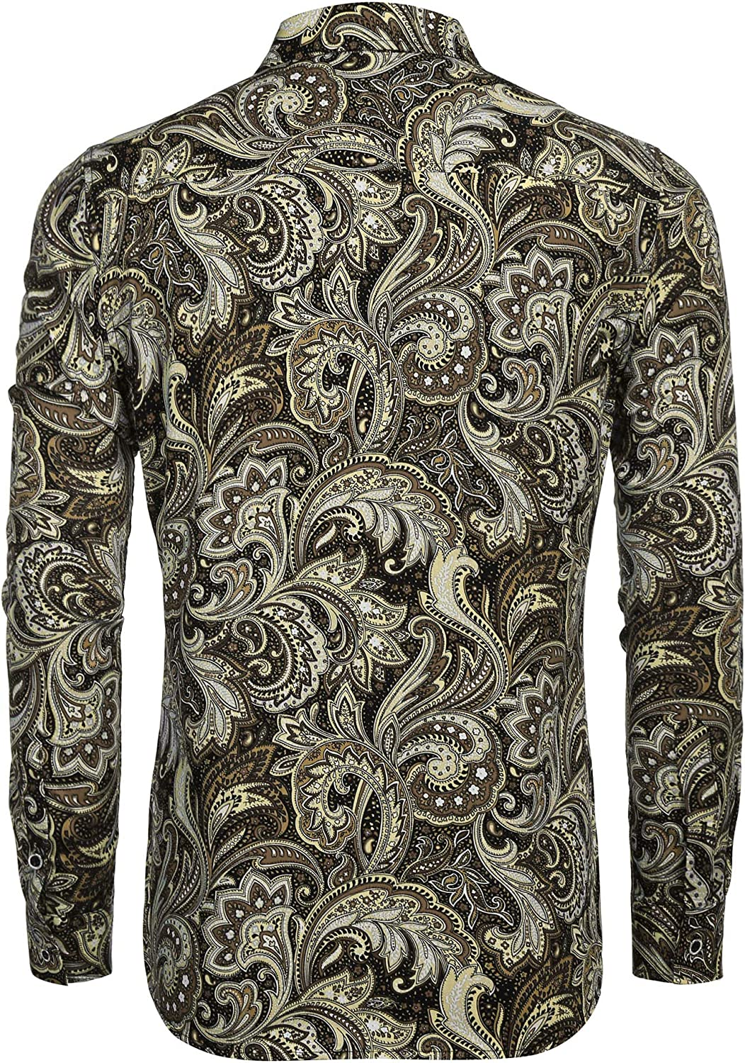 HERW Mens Casual and Comfortable Trend Long-Sleeved Large Size Shirt Flower Shirt