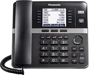 Panasonic DECT 6.0 Plus 4-Line Telephone System for Small and Medium Business, Corded Base Station (Main Console), Expandable up to 10 wirelessly, 6-Way Conferencing - KX-TGW420B (Black)