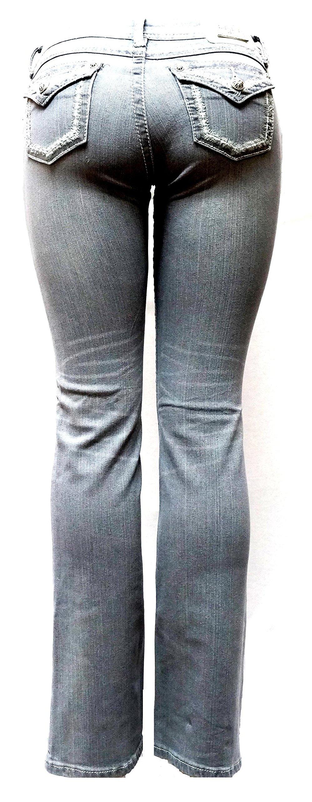 Jully-M Premium Sexy Women's Curvy Basic Bootcut Blue Denim Jeans Stretch Pants (9, Clash Jeans LP9200 Gray/Silver)