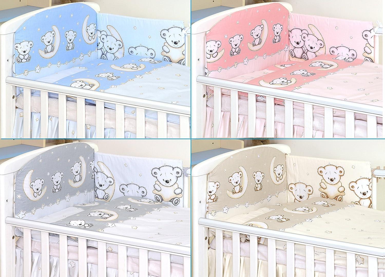 COT 120X60, Hippo- Grey Pillow CASE Bumper Duvet Cover 3PCS Baby Bedding Set fit Cot 120x60 or Cot Bed140x70CM