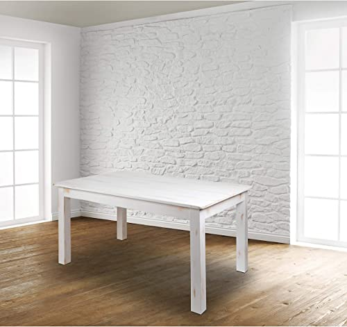 EMMA OLIVER 60″ x 38″ Rectangular Antique Rustic White Solid Pine Farm Dining Table