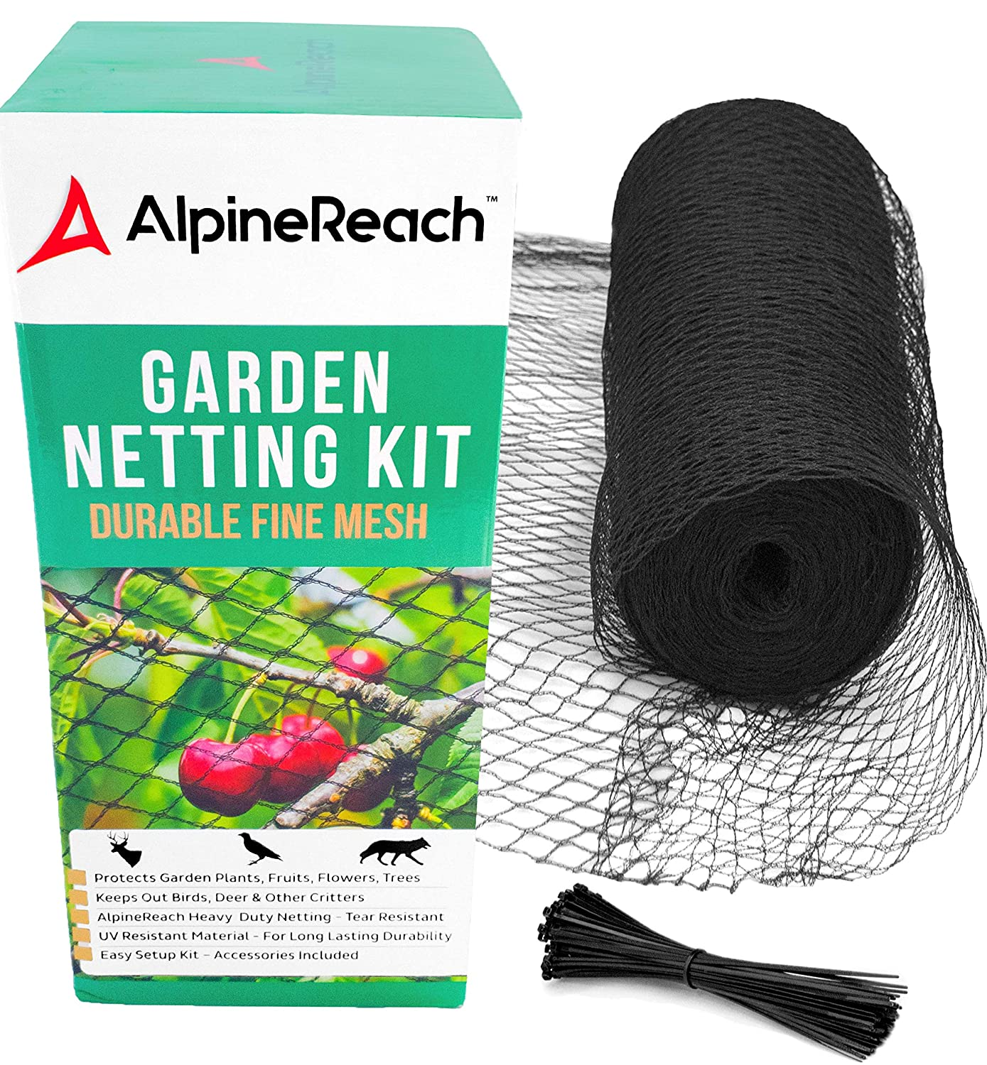 AlpineReach 7.5 x 65 Feet Garden Mesh Black Netting Kit Gift Box – Protect Plants Fruits Flowers Trees – Stretch Fencing Durable Net with Zip Ties – Fine Mesh Heavy Duty Cover Stops Birds Deer Animals