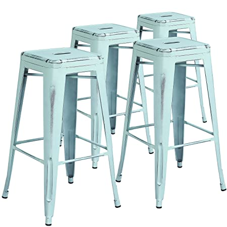 Flash Furniture 4 Pk. 30 High Backless Distressed Green-Blue Metal Indoor-Outdoor Barstool