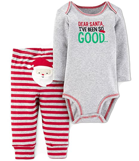 135a13bc8 Carter's Just One you Baby Boys 2pc Dear Santa Bodysuit & Pants Set Grey/Red