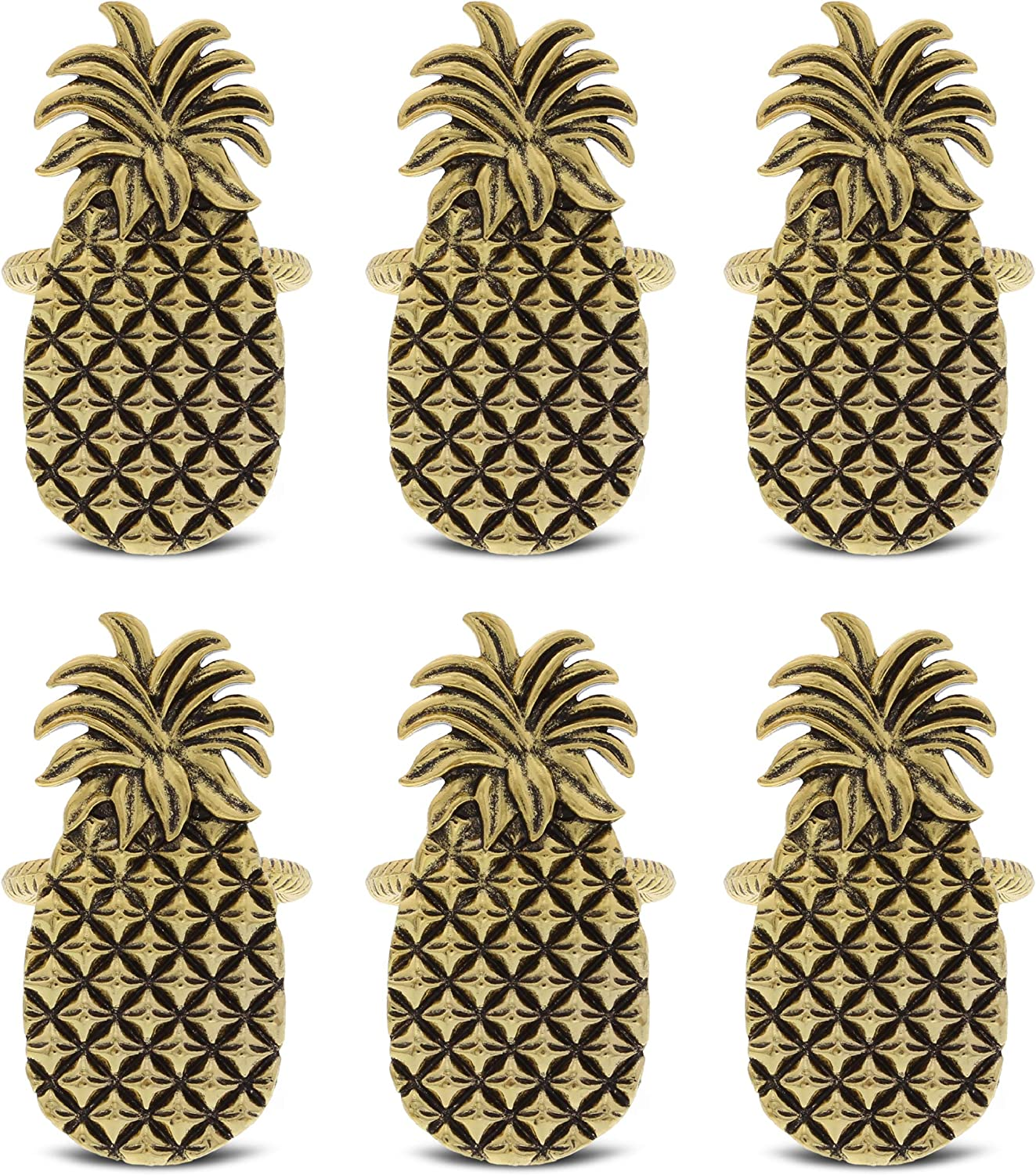 KitchaBon Gold Napkin Rings Set of 6, Table Setting Centerpiece Decor Napkins Ring Holders, Napkin Ring Packs for Family Holiday Dinner, Fancy Banquet & Wedding Decorations for Reception- Pineapple