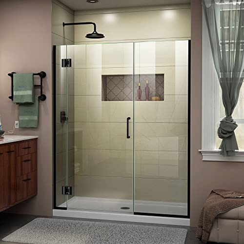 DreamLine Unidoor-X 52-52 1 2 in. W x 72 in. H Frameless Hinged Shower Door in Satin Black, D1242272-09