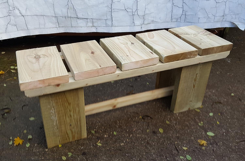 SMILES Wooden Rustic/Garden/Patio/Kitchen Chunky Bench (120cm L x 35cm W x 50cm H) smileswoodcraft Ltd