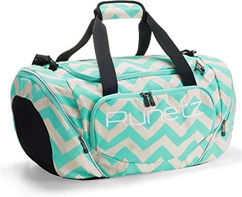 Runetz – Gym Bag for Women and Men – Ideal Workout Overnight Weekend Bag – Sport Duffle Bag – XL SIZE 30 x 14 x 12 inches – CHEVRON TEAL