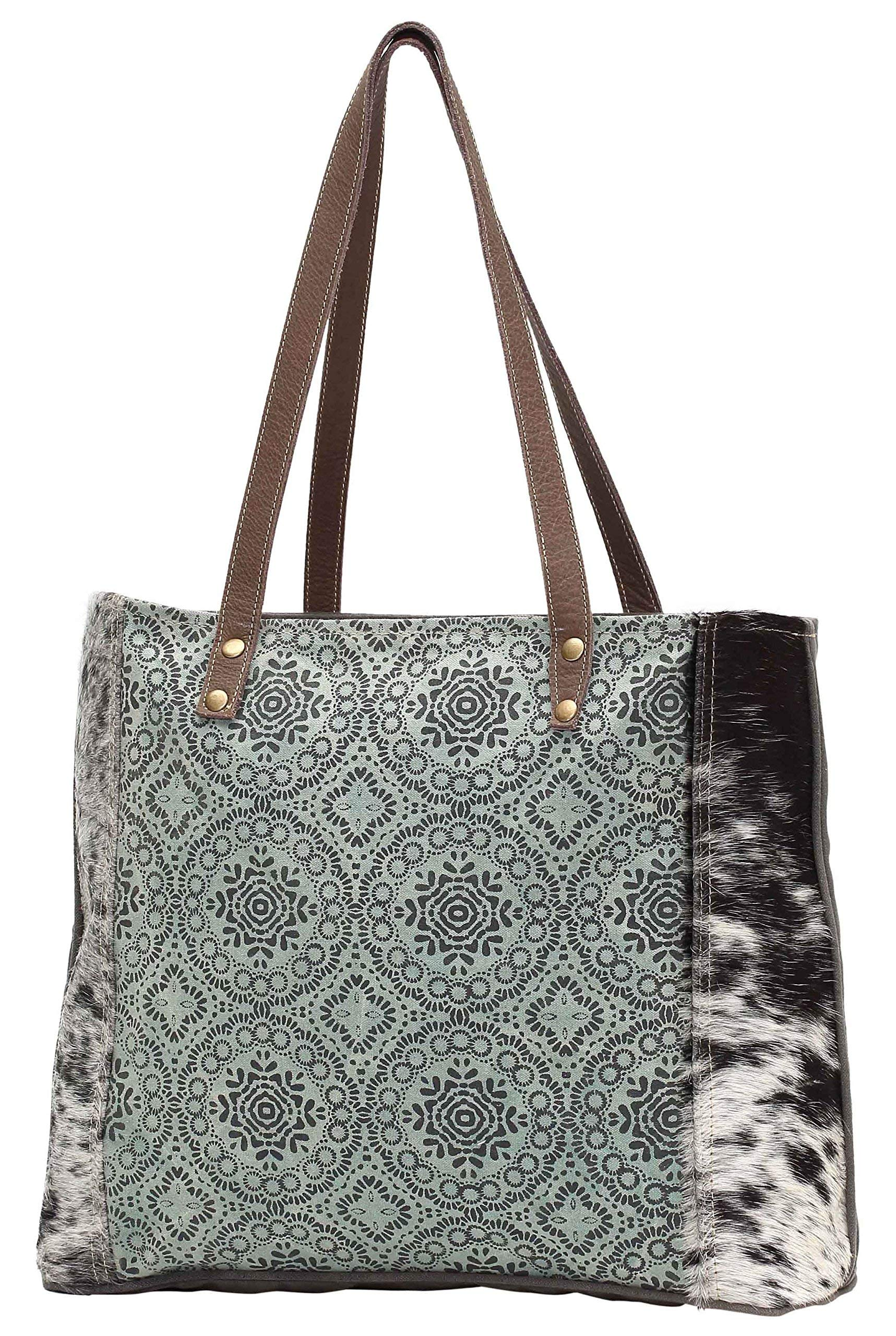 Myra Bag Green Floral Upcycled Canvas Weekender Bag S-1192