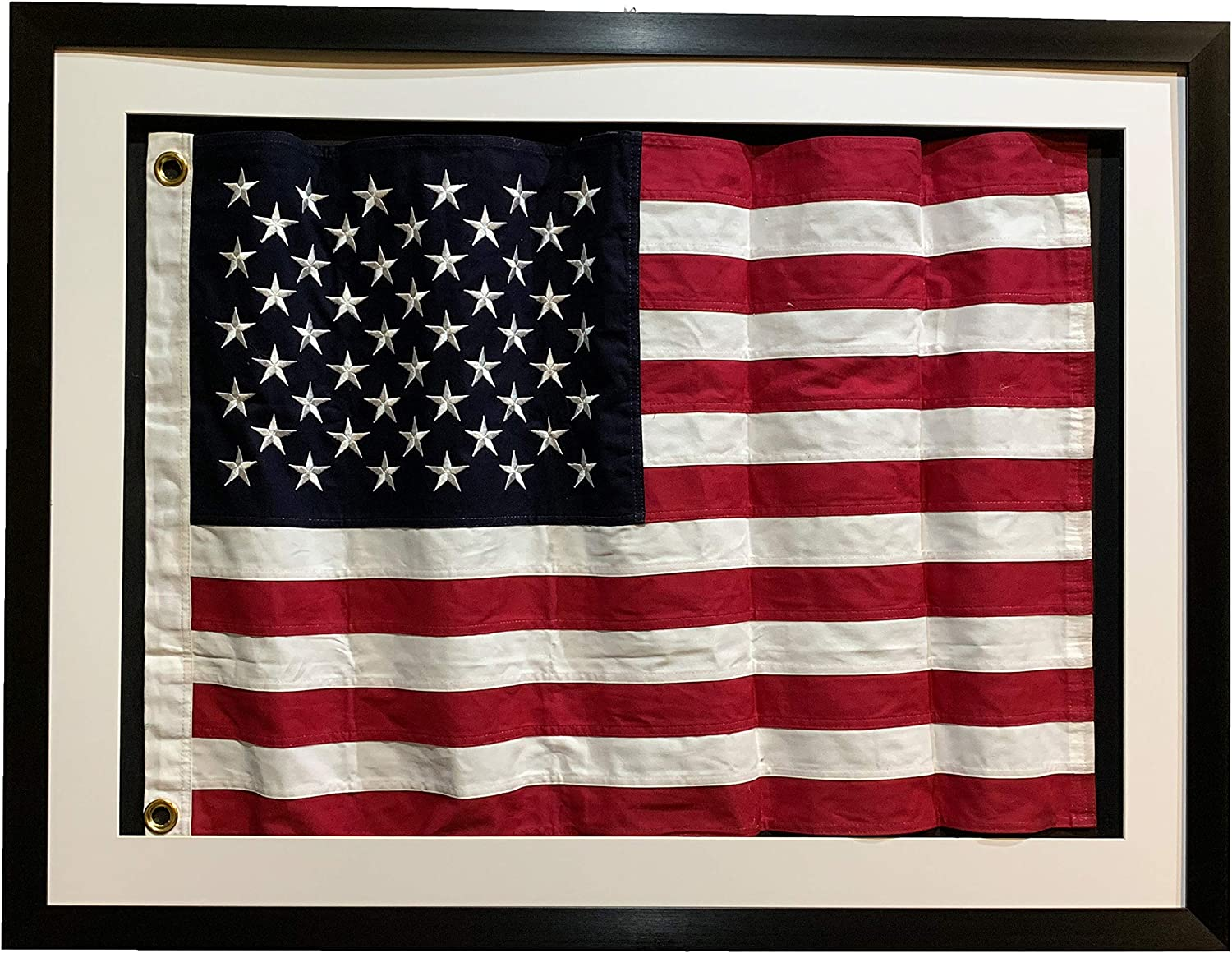 Framed Print American Flag Waving in the Wind Picture Poster USA America Art