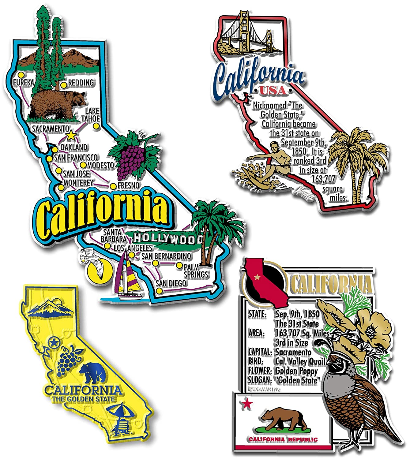 California Four-Piece State Magnet Set