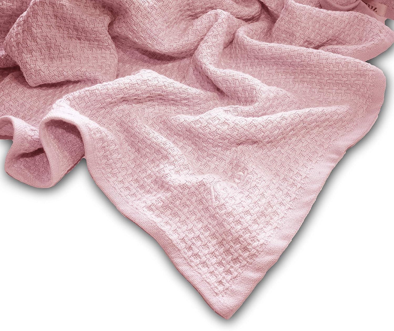 Zoog color azul y rosa y verde tejido suave Manta de algod/ón org/ánico de calidad premium con certificado GOTS no qu/ímico 78,7 x 101,6 cm 100/% algod/ón org/ánico no t/óxico Rosa