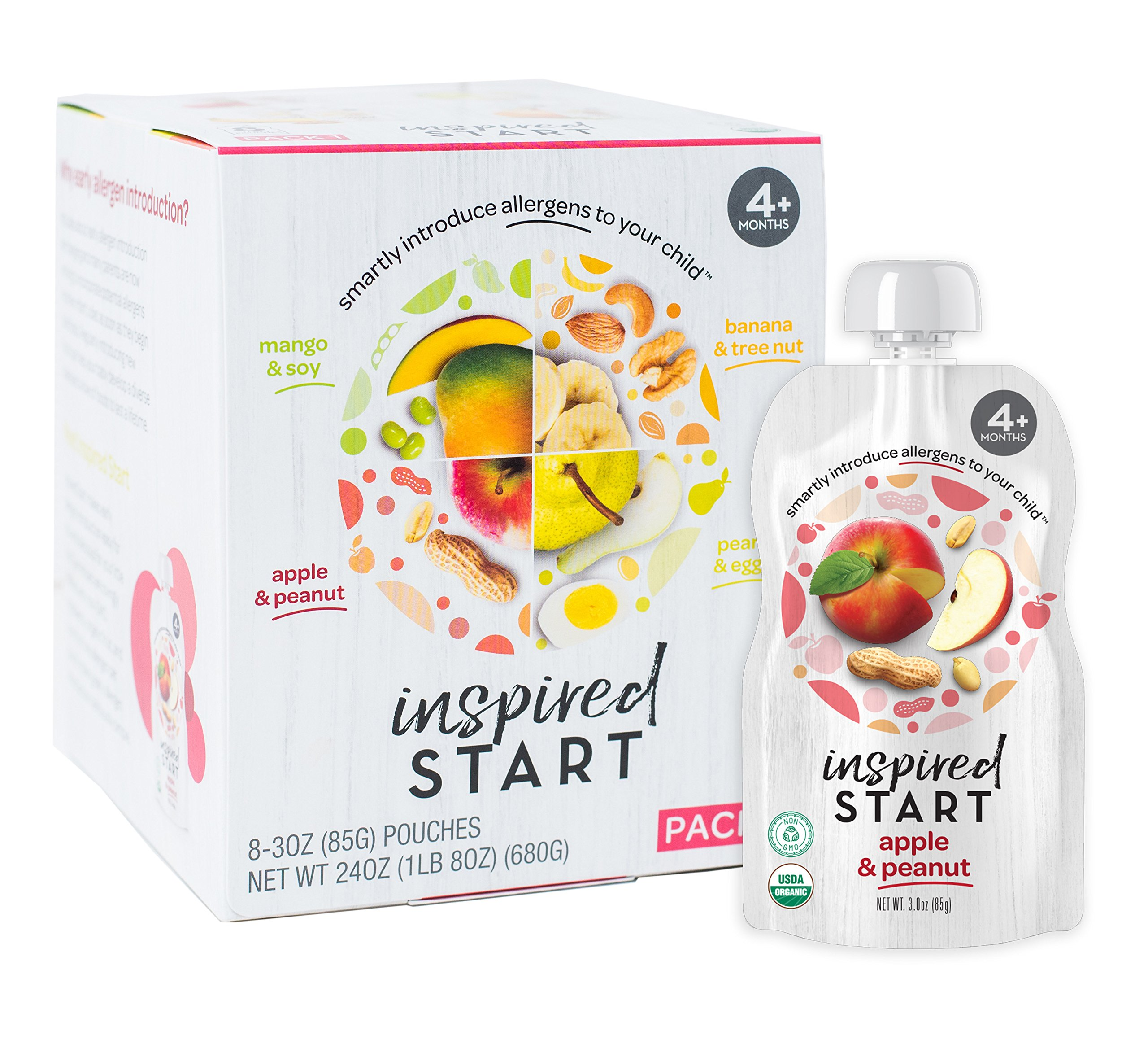 Early Allergen Introduction Baby Food: Inspired Start Pack 1, 3 oz. (Pack of 8 baby food pouches) - Organic, Non-GMO, include peanut, treenut, soy and egg in baby's diet by Inspired Start