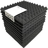 (ピコリコ) PicoRico 吸音 防音 ウレタンフォーム ピラミッド型 スポンジ 黒 50cm×50cm 極厚5cm 12枚セット
