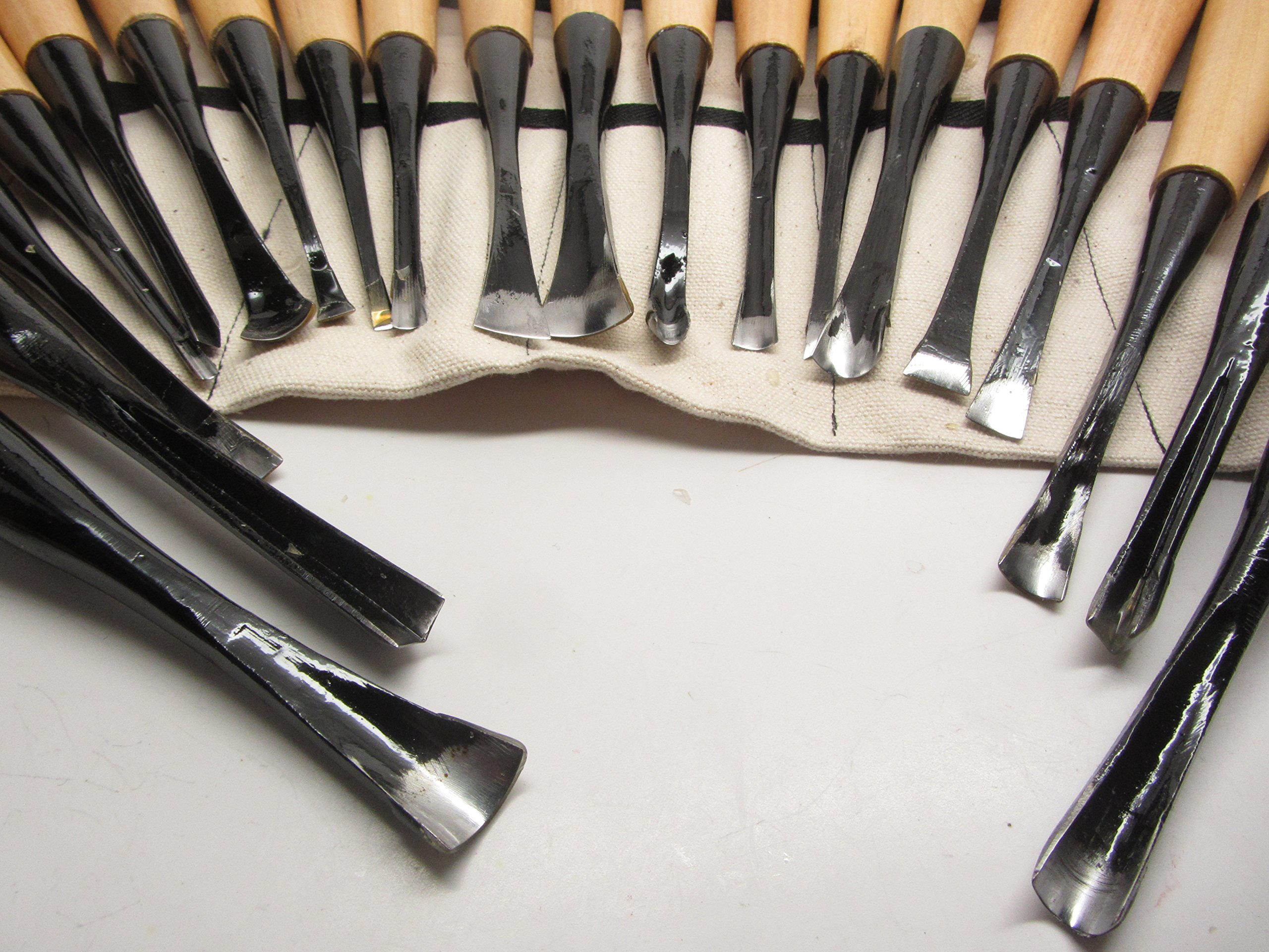 20pc Mastercarver Detail Wood Carving Tools Set w/Canvas Roll 401005