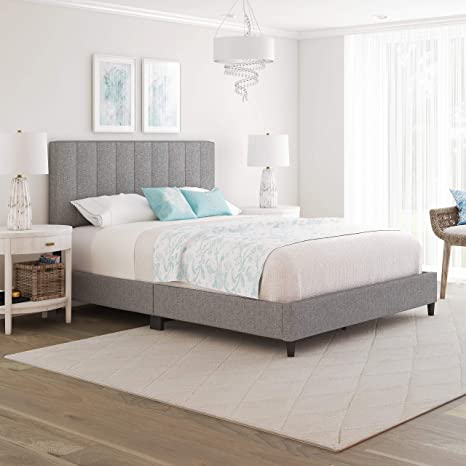 Boyd Sleep Leah Upholstered Vertical Tufted Platform Bed Frame Mattress Foundation With Headboard And Strong Wood Slat Supports Linen Grey Queen Grey Linen Lhgr971qn Amazon Ca Home Kitchen