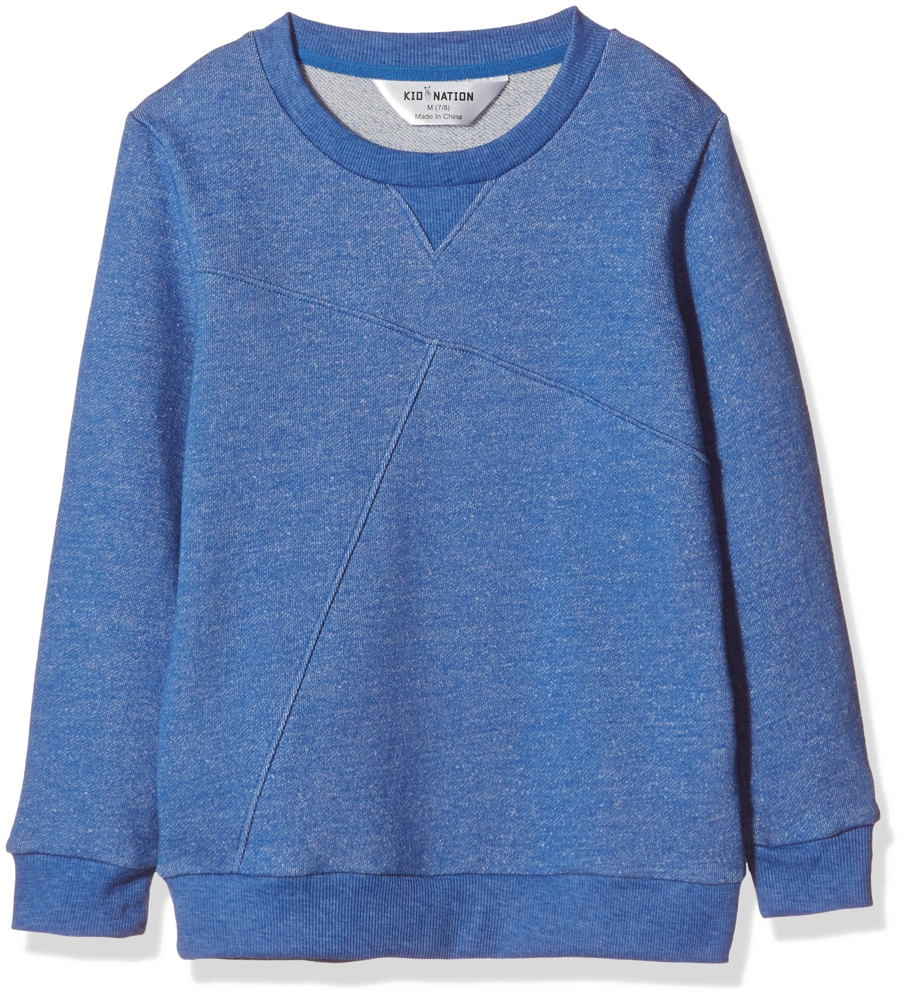 Kid Nation Kids' French Terry Sweatshirt for Boys Girls L Marled Blue