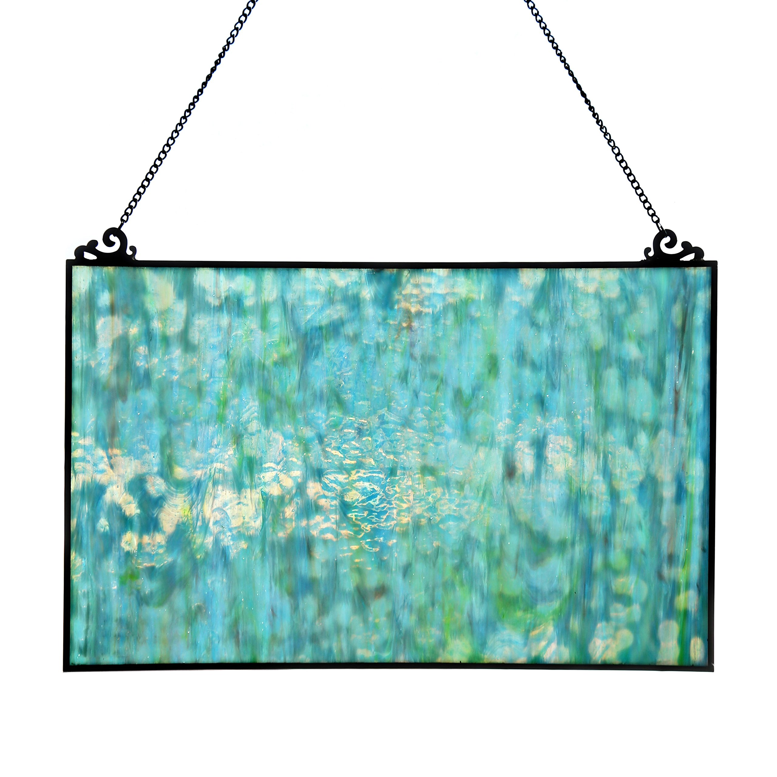 River of Goods 16422 10.75'' H Single Pane Mottled Blue Tiffany Style Stained Glass Window Panel