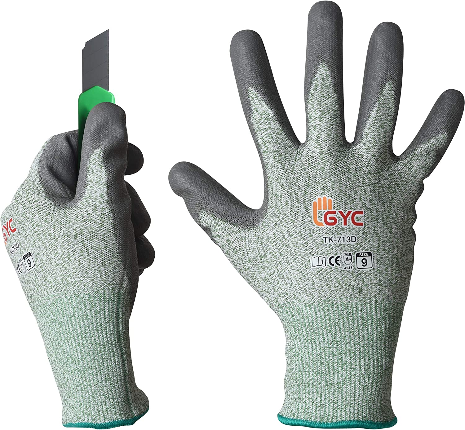 GYC Gloves, Cut Resistant Safety Work Gloves - Level 5 Cut Protection, 10 Pairs Pack - Excellent Dexterity & Breathability, Comfortable Soft PU coated (TK-713D/Size 9 - LARGE)