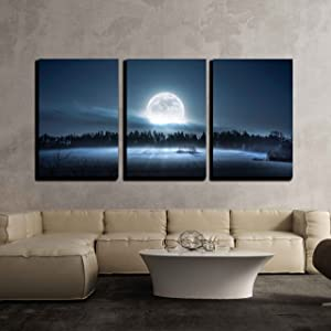 """wall26 - 3 Piece Canvas Wall Art - The Moon Rising Over The Forest and Meadow in The Cold and Misty Morning - Modern Home Art Stretched and Framed Ready to Hang - 16""""x24""""x3 Panels"""
