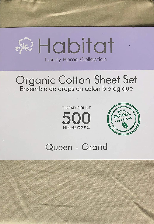 Habitat Organic Cotton Solid Beige 4pc Queen Sheet Set Luxury Fine Linens 500 Thread Count