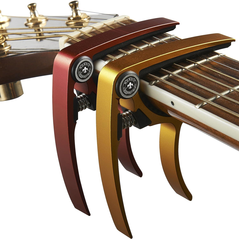 Made of Ultra Lightweight Aluminum Metal Nordic Essentials, for Guitars Bass for 6 /& 12 String Instruments Ukulele Guitar Capo Mandolin Red + Gold Banjo 2 Pack 1.2 oz!