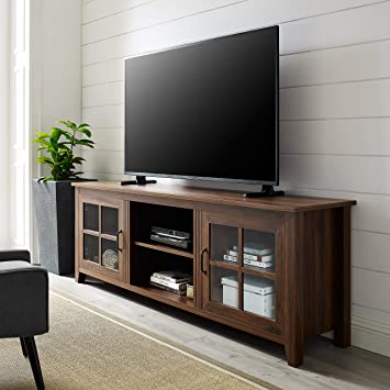 Amazon Com We Furniture Az70csgddw Tv Stand 70 Dark Walnut