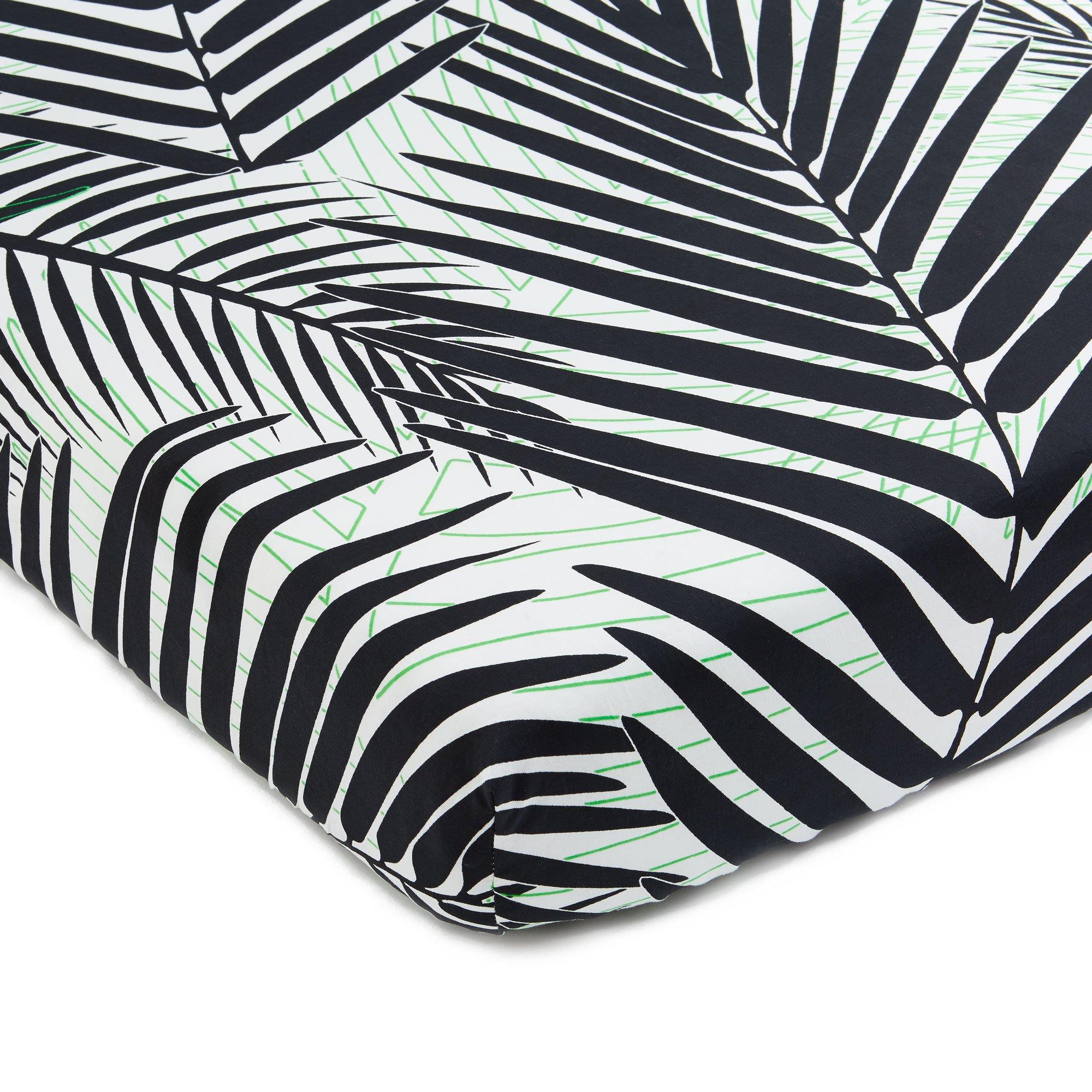 Brooklyn Born Organic Crib Sheet - Palm Beach, Black/Green, One Size
