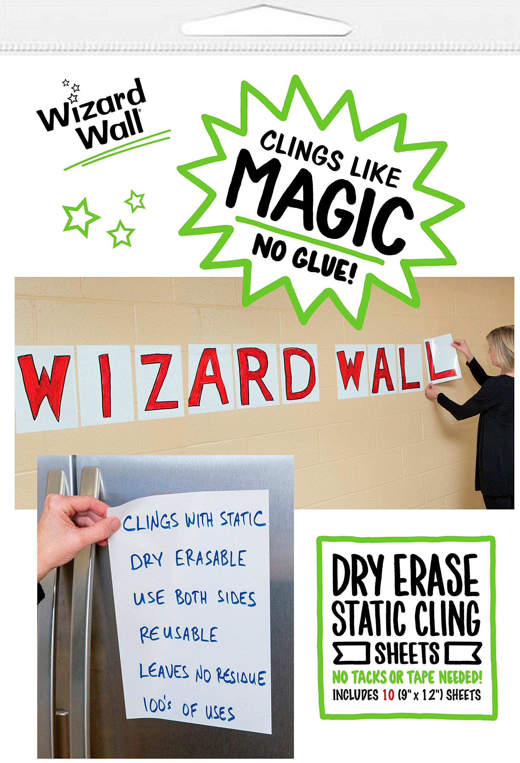 Wizard Wall Portable and Re-positionable Dry Erase Pre Cut Sheets, White, Available in 3 Sizes