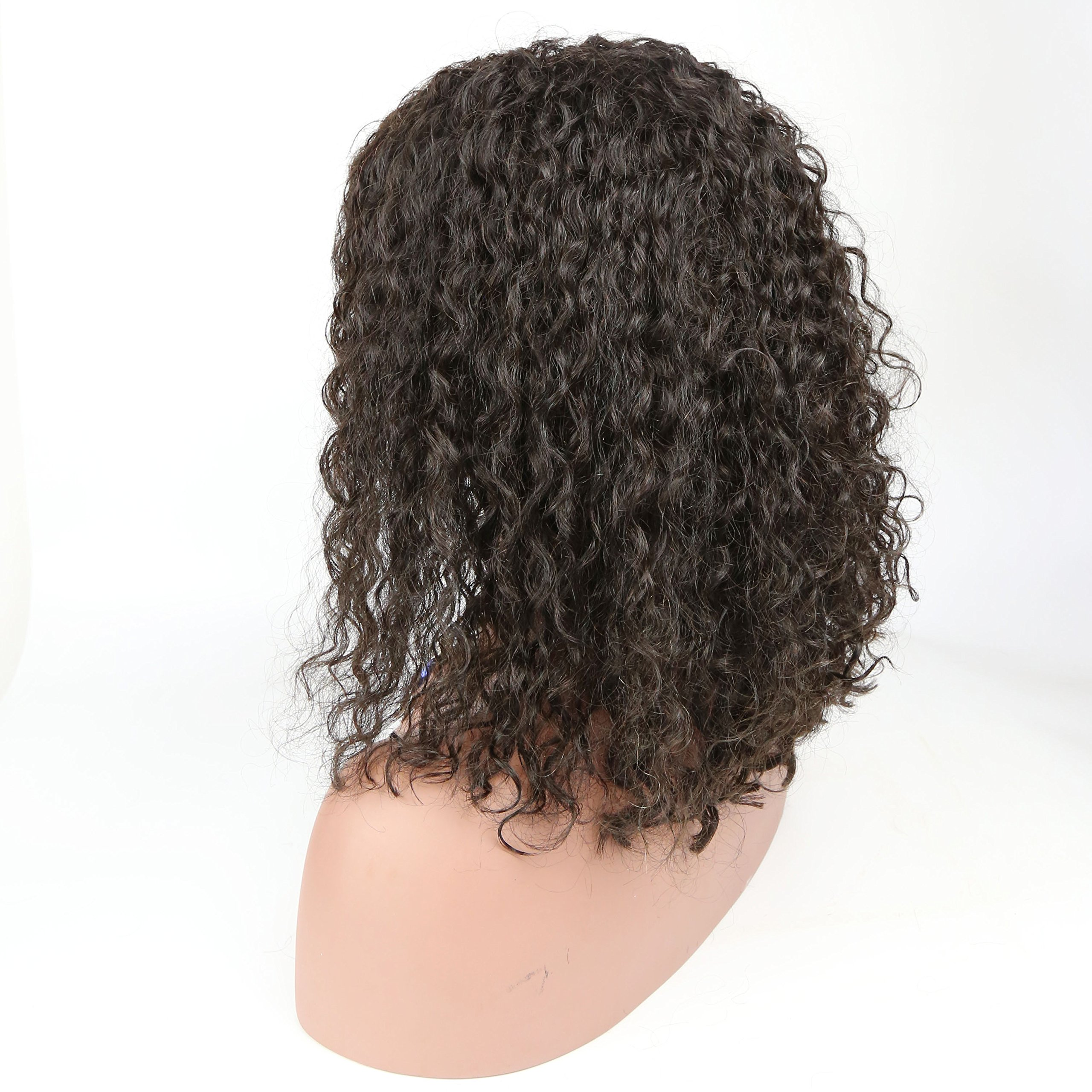 150% Density Brazilian Short Curly Bob Human Hair Lace Front Wigs with Baby Hair for Black Women Natural Color 14 inch