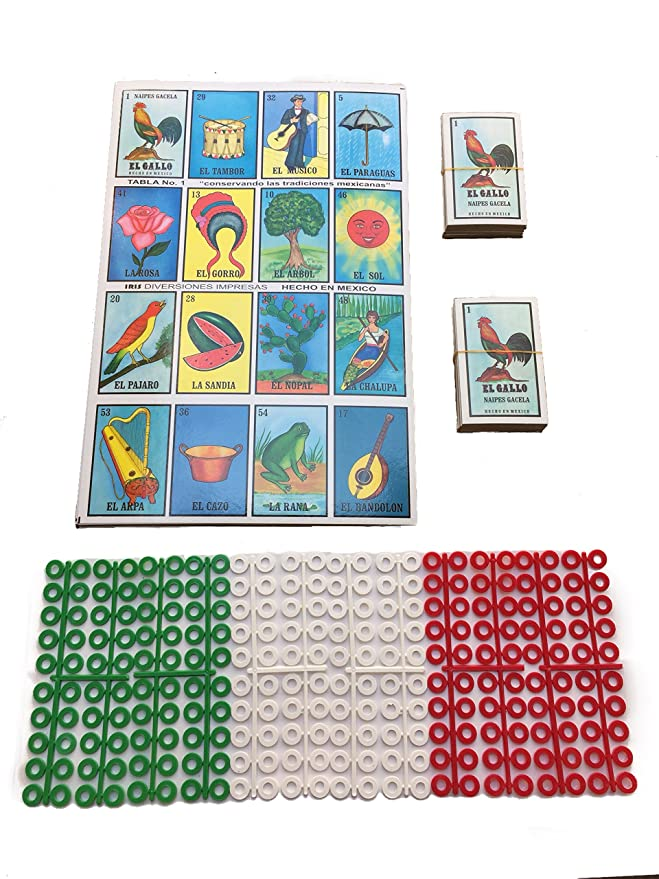 Amazon.com: Loteria! Mexicana Board Game Kit – Mexican Edition Bingo Game for 20 Players – With 2 Decks of Cards and Boards – Includes 240 Free Markers – No ...
