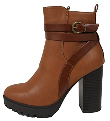 Women's Strappy Lug Platform Stacked Block Heel Ankle Bootie