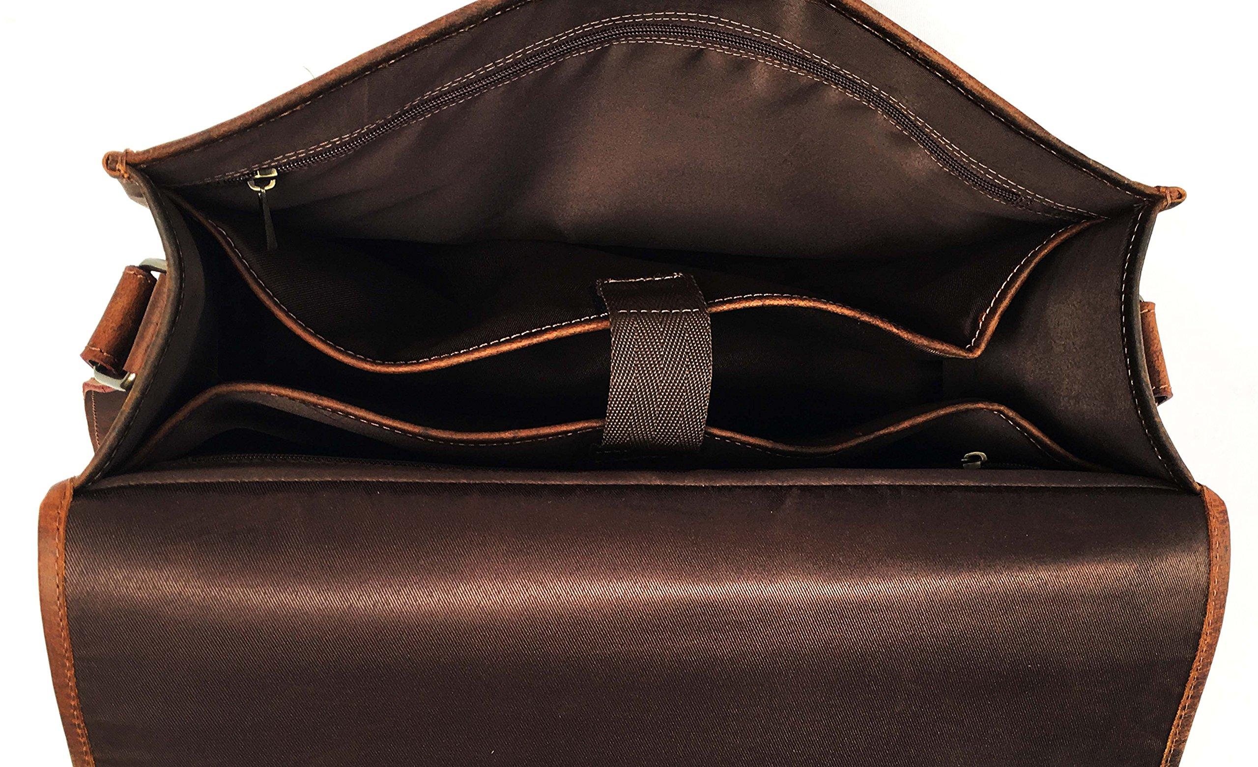 16 Inch Leather Vintage Rustic Crossbody Messenger Courier Satchel Bag Gift Men Women ~ Business Work Briefcase Carry Laptop Computer Book Handmade Rugged & Distressed By KK's Leather by kk's leather (Image #6)
