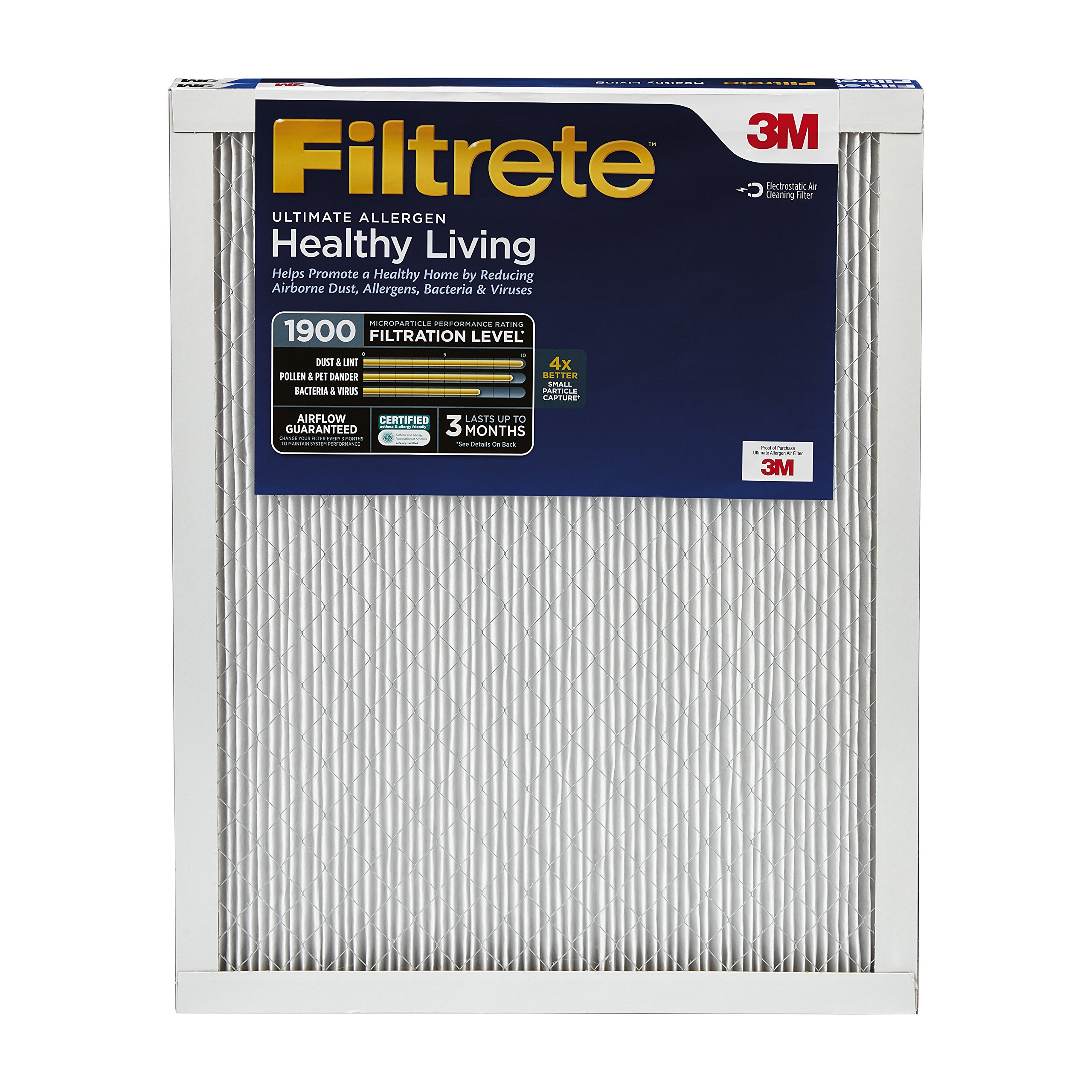 Filtrete MPR 1900 14 x 30 x 1 Healthy Living Ultimate Allergen Reduction AC Furnace Air Filter, Uncompromised Airflow, Captures Fine Inhalable Particles like Bacteria & Viruses, 2-Pack