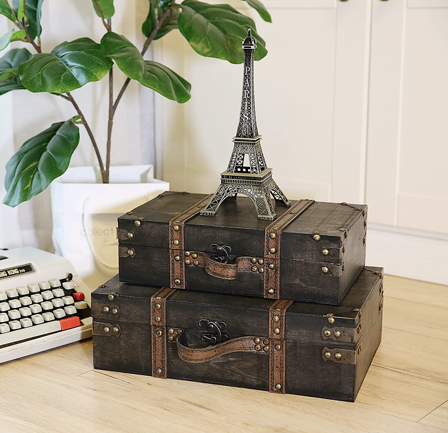 SLPR Jackson Wooden Trunk with Straps Old-Fashioned Antique Vintage Style Nesting Trunks for Shelf Home Decor Birthday Parties Wedding Decoration Displays Crafts FM-MOP8-MQ55 Set of 2, Grey Wood