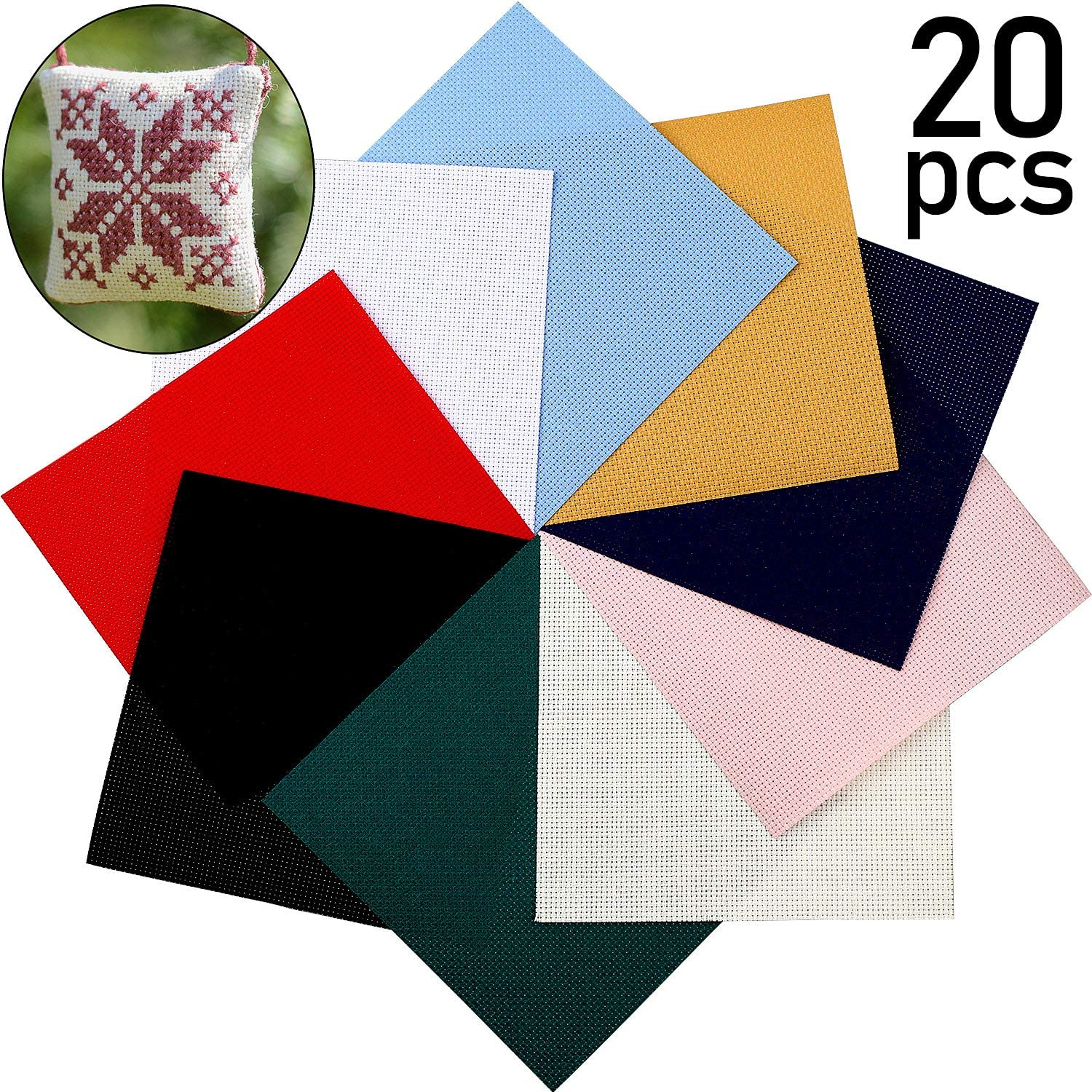 10 Colors 20 Pieces Cross Stitch Fabric DIY Cross Stitch Cloth 5.9 x 5.9 Inch Cross Stitch Embroidery Fabric for DIY Art Craft Handwork