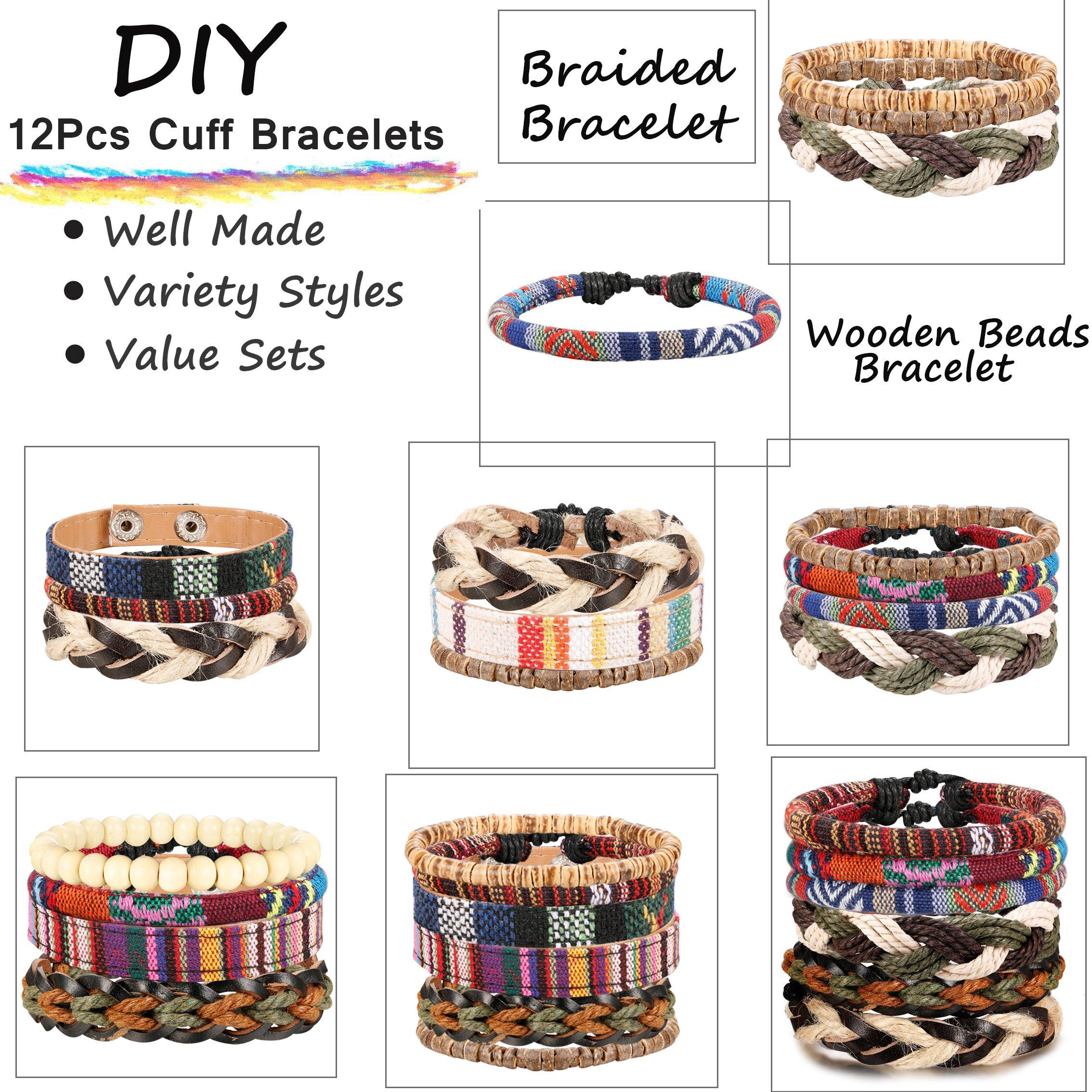 Jstyle 6-12Pcs Wrap Bracelets for Women Men Hemp Cords Ethnic Tribal Bracelet Wooden Beads Leather Bracelets Wristbands by Jstyle (Image #7)