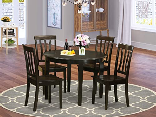 East-West Furniture 5-Pcs dining room table set 4 Fantastic wood chair