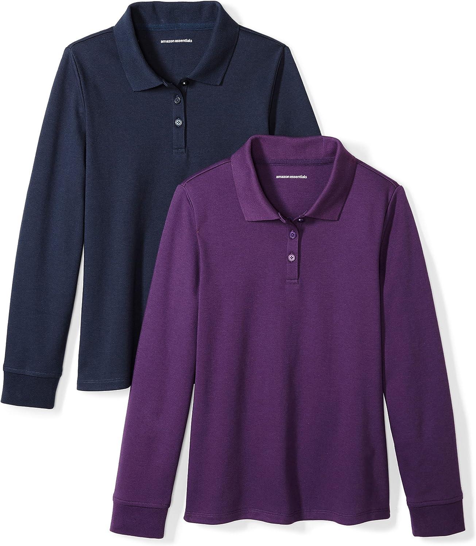 Essentials Girls' 2-Pack Long-Sleeve Interlock Polo Shirt: Clothing