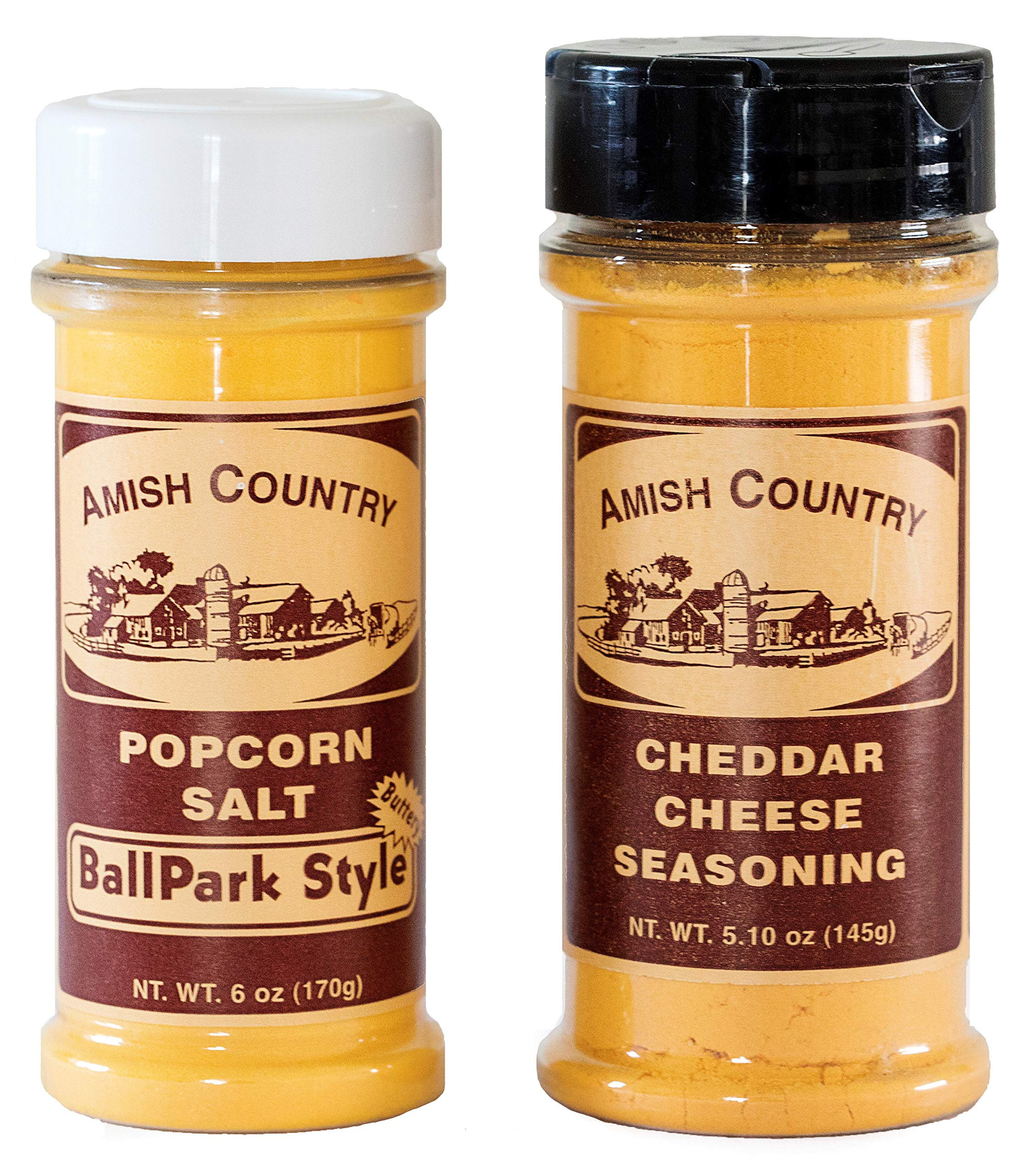 Amish Country Popcorn - BallPark Style ButterSalt (6 Oz) & Cheddar Cheese (5.1 Oz) Popcorn Seasoning - Old Fashioned with Recipe Guide by Amish Country Popcorn