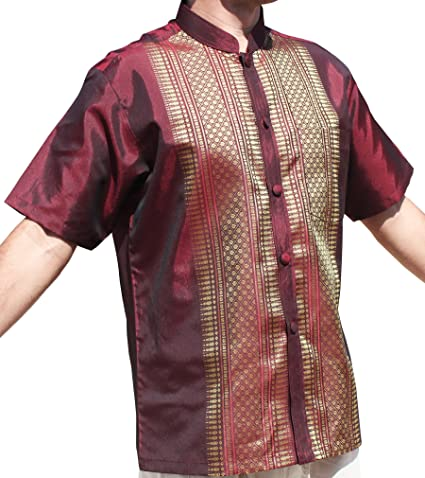 69b8b8613 Amazon.com: Raan Pah Muang Short Sleeve Formal Chinese Woven Motif Silk  Shirt: Clothing